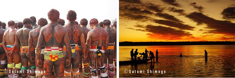 KAYAPO BODYPAINTイメージ画像とアマゾンの夕焼けの写真